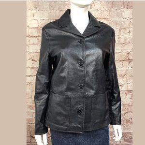 Gap Genuine Leather Jacket Medium Vintage Black